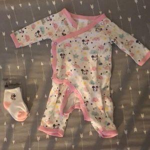 Disney Brand Girls Kimono Pajama w/socks